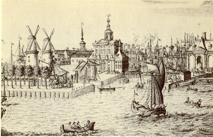1694, Leuvehaven, Schiedamsepoort op Vasteland, bruggetje links naar Zalmhaven